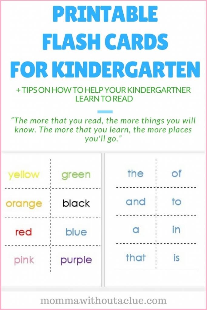 Printable Sight Word Flash Cards - Momma Without A Clue | Kindergarten Sight Words Flash Cards Printable