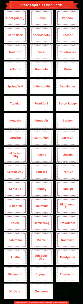 Printable State Capitals Flash Cards   States And Capitals Flash Cards Printable
