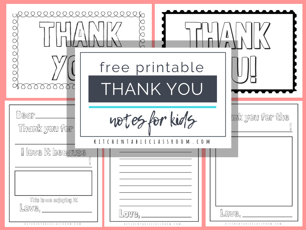 Printable Thank You Cards For Kids - The Kitchen Table Classroom   Free Printable Thank You Cards