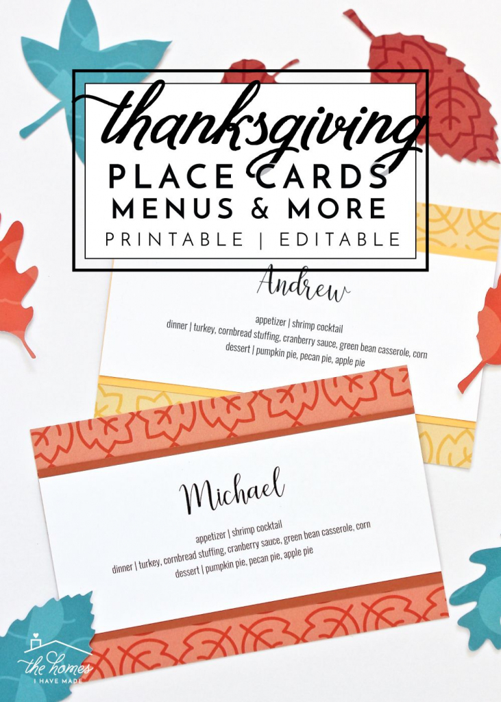 Printable Thanksgiving Place Cards, Menu Cards, Thankful Cards And   Printable Thanksgiving Place Cards