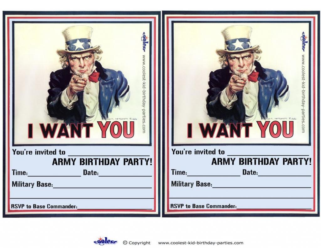Printable Uncle Sam Invitations - Coolest Free Printables | Awsome | Army Birthday Cards Printable