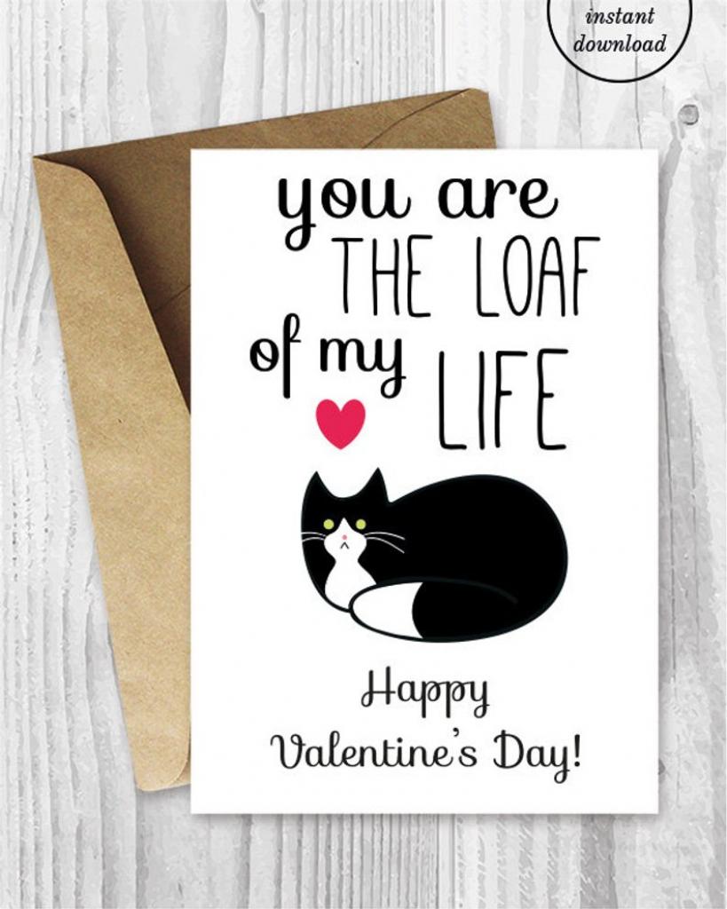 Printable Valentine Card Funny Cat Valentines Day Card   Etsy   Etsy Printable Valentines Cards