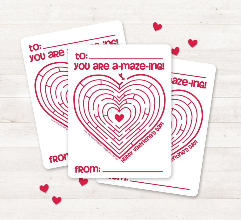 Printable Valentine Card Kids Valentine Card Valentine Maze   Etsy   Etsy Printable Valentines Cards