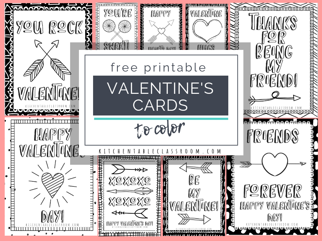 Printable Valentine Cards To Color - The Kitchen Table Classroom   Printable Valentines Day Cards To Color