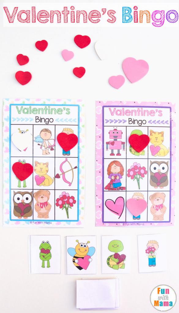 Printable Valentine's Bingo Game - Fun With Mama   Shapes Bingo Cards Printable