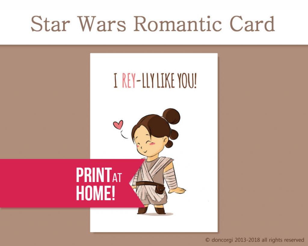 Printable Valentines Card Romantic Star Wars Card I | Etsy | Printable Star Wars Cards