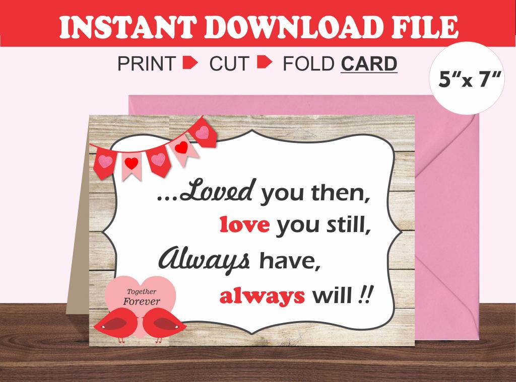 Printable Valentine's Day Card/ Romantic Card/ Husband/ | Etsy | Printable Valentine Cards For Husband