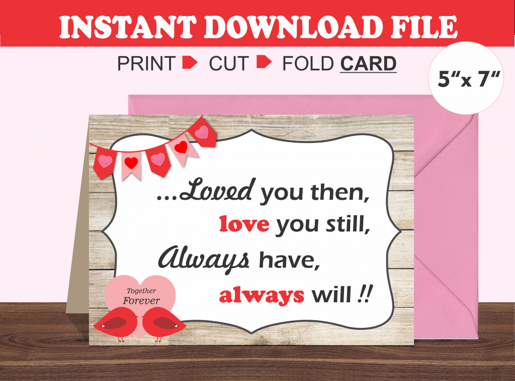 Printable Valentine's Day Card/ Romantic Card/ Husband/   Etsy   Printable Valentines Day Cards For Husband