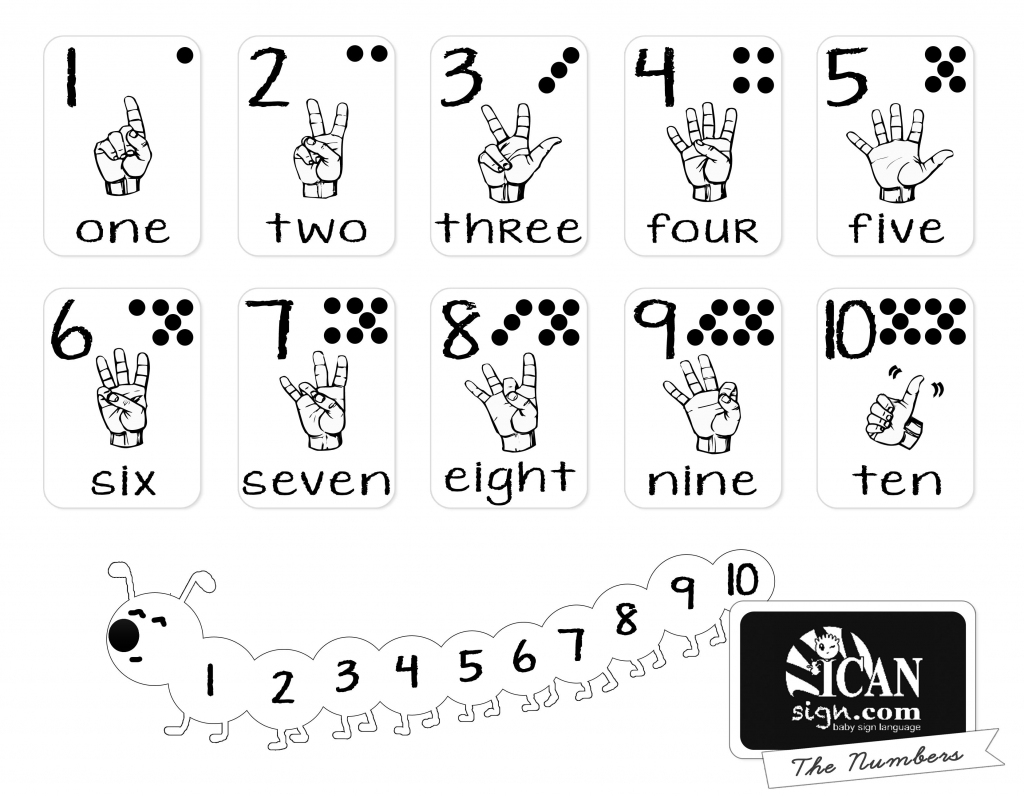 Printer-Friendly Asl Numbers Chart - Free Printable From Icansign | Baby Sign Language Flash Cards Printable