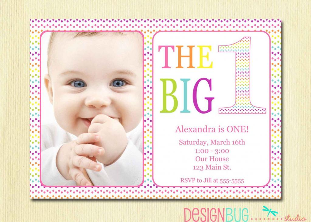 Rainbow First Birthday Invitation Baby Girl - Diy Photo Printable | Printable 1 Year Old Birthday Card