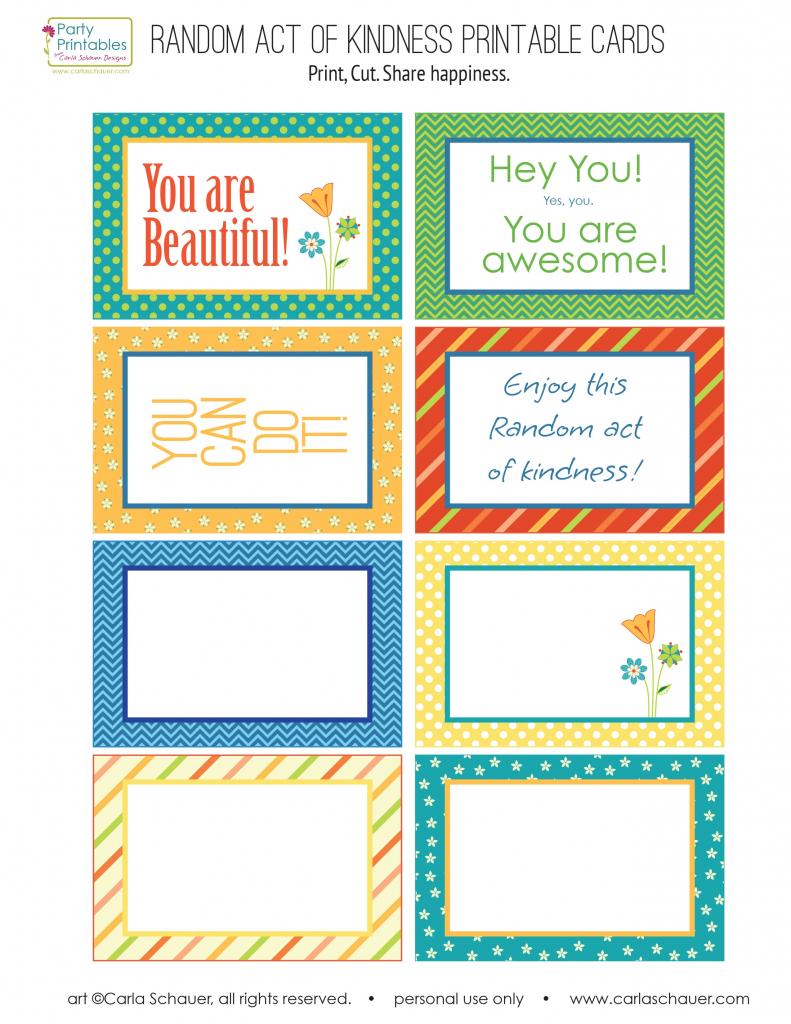 Random Act Of Kindness Free Printables | Carla Schauer Designs | Free Printable Kindness Cards