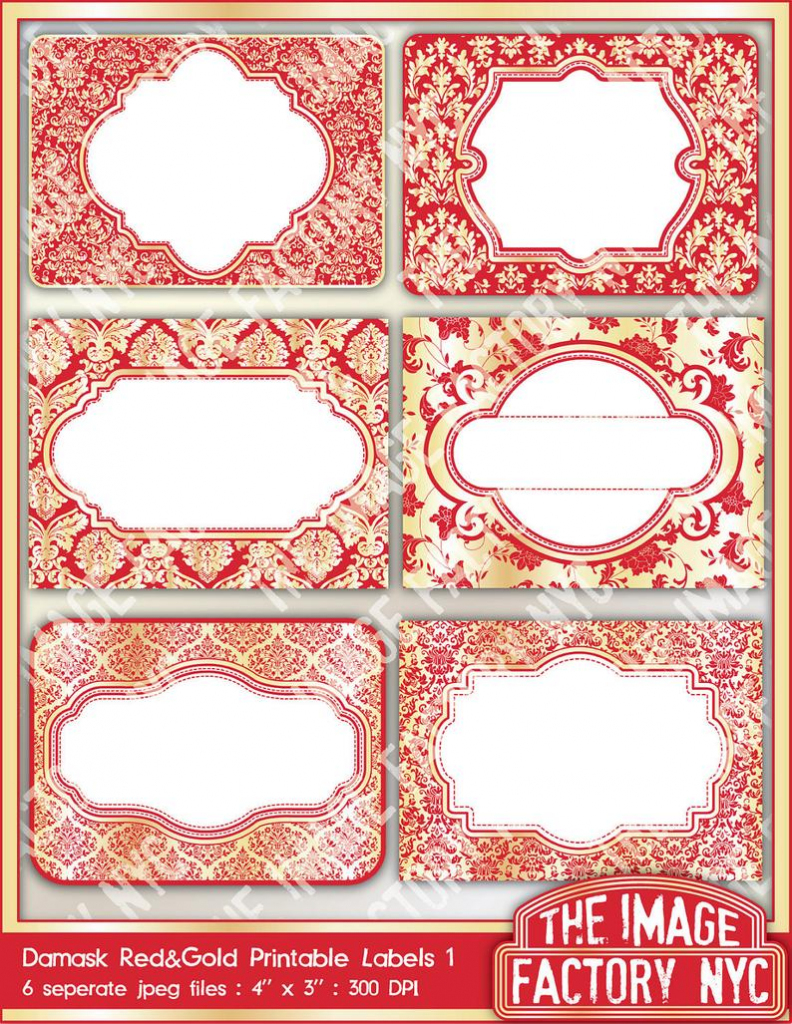 Red And Gold Damask Printable Labels & Tags For Gift Tags   Etsy   Free Printable Damask Place Cards