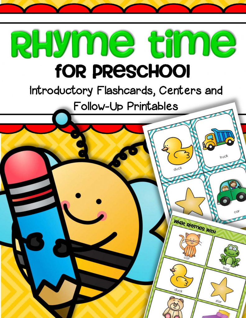 Rhyme Time For Preschool – Introductory Flashcards, Centers And   Free Printable Rhyming Words Flash Cards