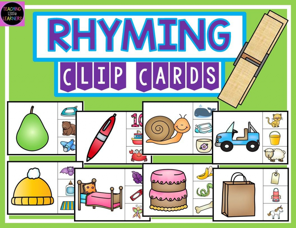Rhyming Clip Cards   Tpt Free Lessons   Rhyming Activities, Rhyming   Rhyming Picture Cards Printable