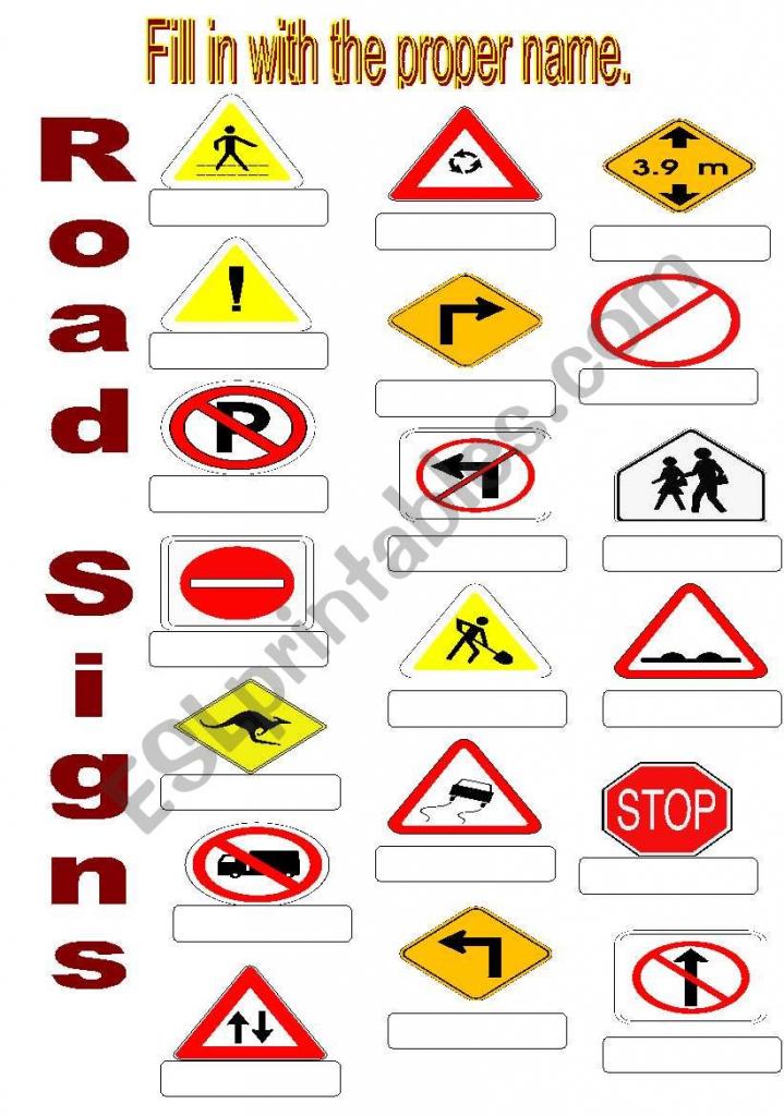 Road Signs - Esl Worksheetsuda | Printable Road Signs Flash Cards