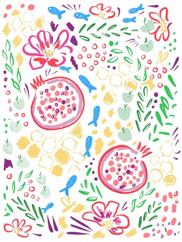 Rosh Hashanah Pomegranate Printable Postcard Size Card | Etsy | Rosh Hashanah Greeting Cards Printable