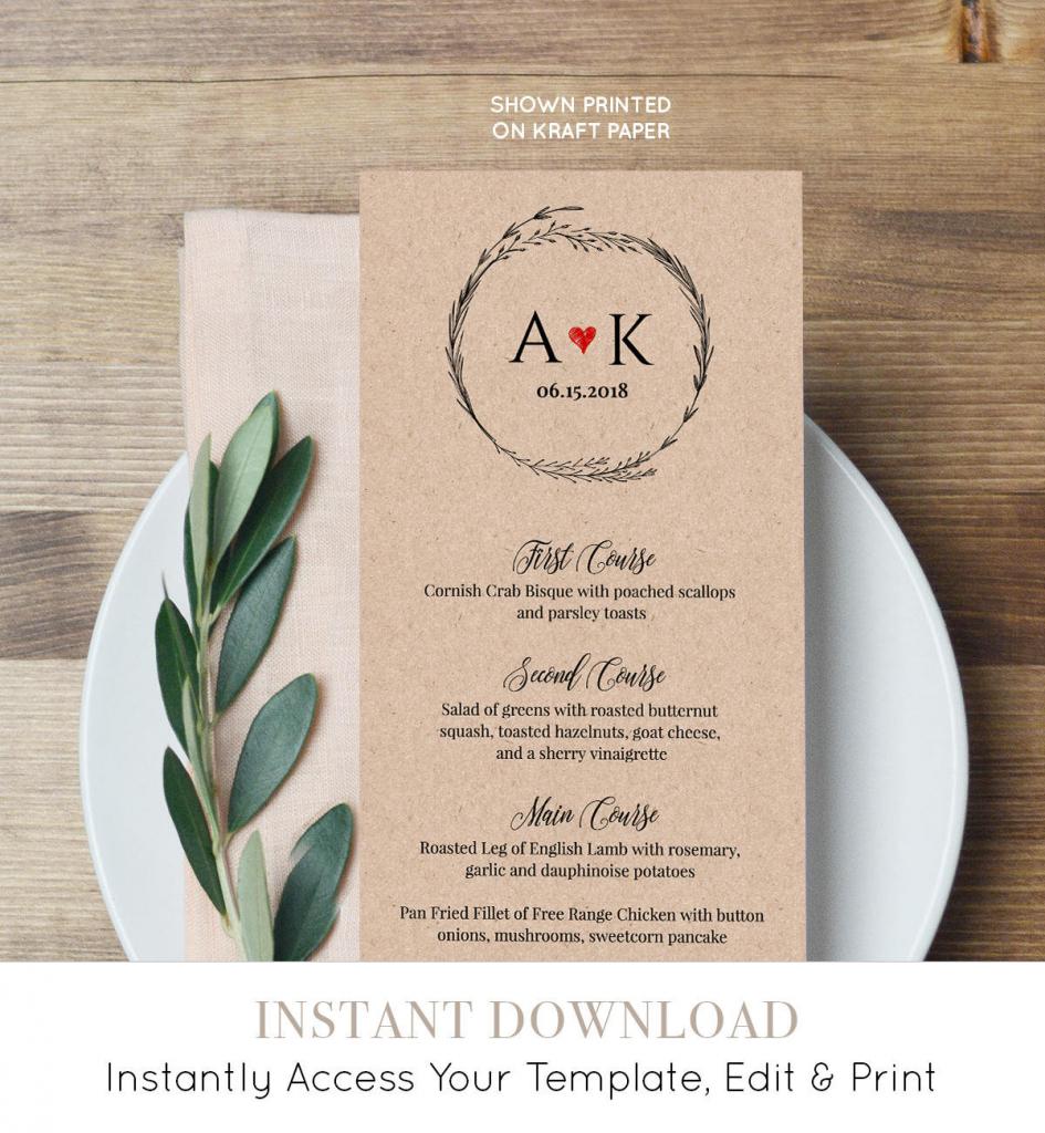 Rustic Menu Card Template, Printable Wedding Menu, Wreath Dinner | Free Printable Wedding Menu Card Templates