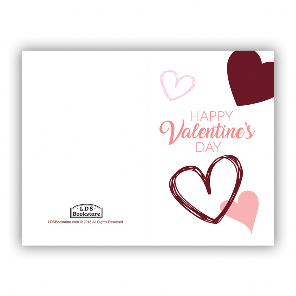 Scattered Hearts Valentine's Day Card - Printable In Free Lds | Happy Valentines Day Cards Printable