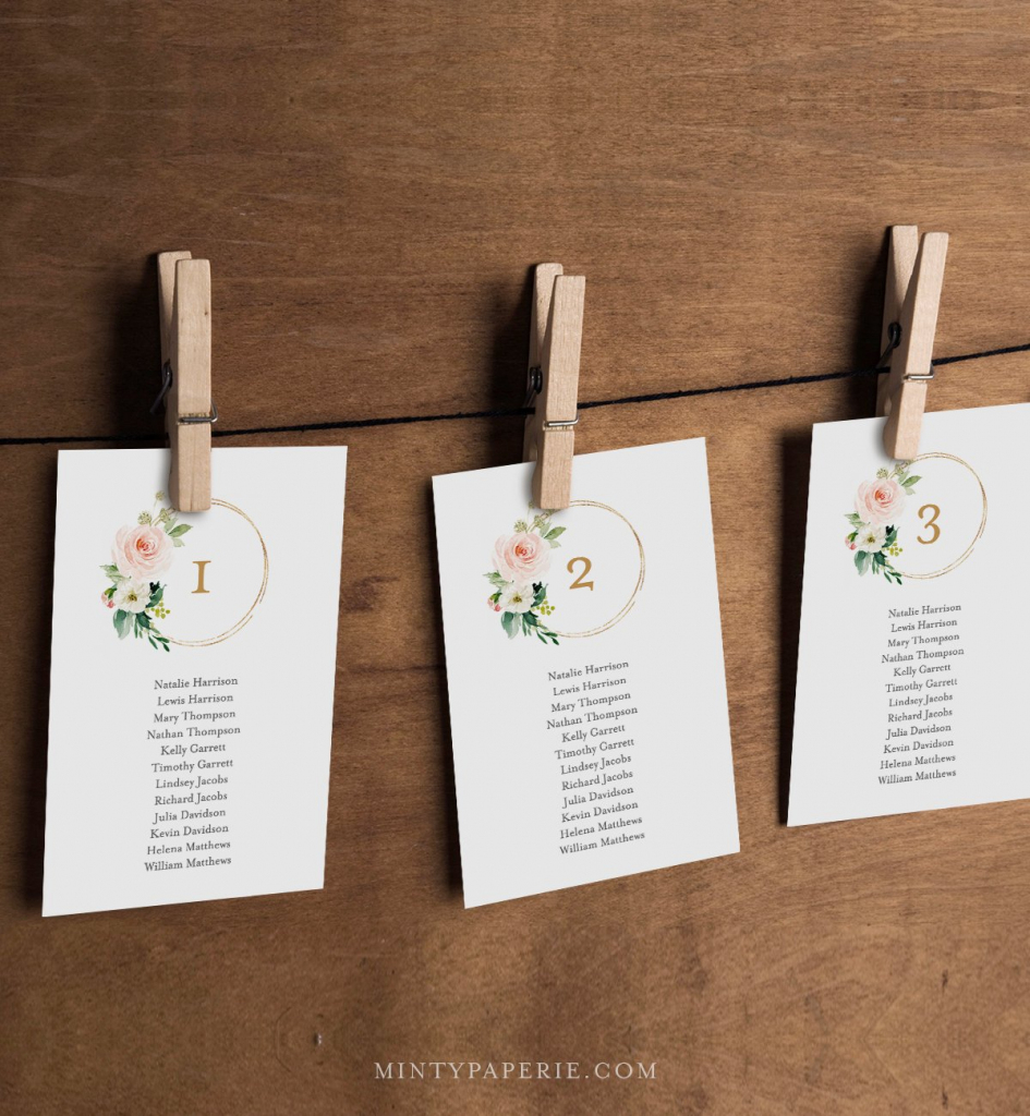 Seating Chart Printable, Table Seating Cards, Boho Floral Wedding | Printable Wedding Seating Cards