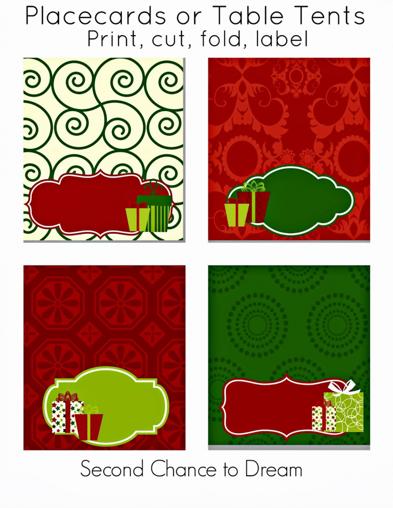 Second Chance To Dream - Free Christmas Party Printables | Free Printable Christmas Tent Cards