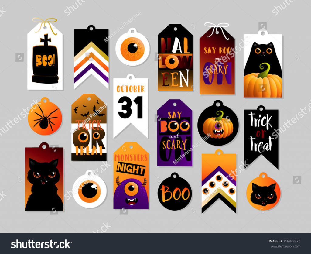 Set Halloween Gift Tags Cute Scary Stock Vector (Royalty Free | Cute Printable Halloween Cards