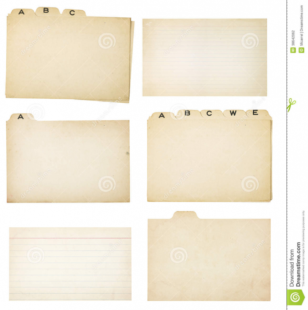 Set Of Six Vintage Tabbed Index Cards Stock Photo - Image Of Note   Free Printable Blank Index Cards