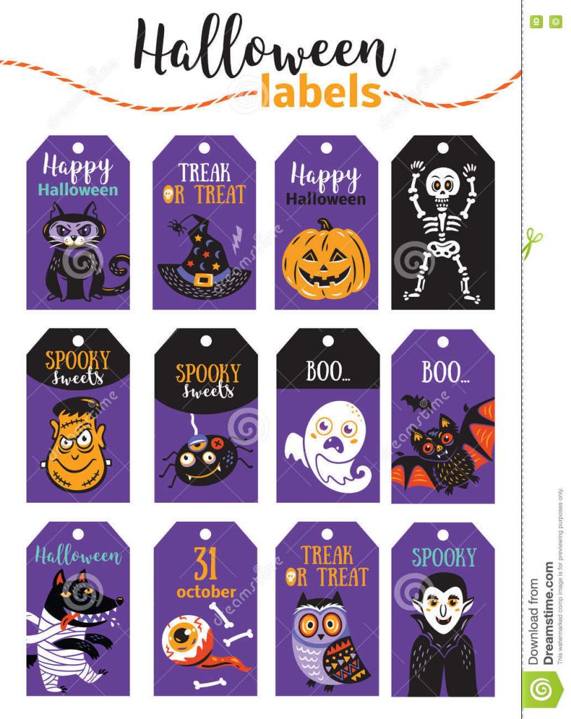 Set Of Vintage Happy Halloween Badges And Labels. Cartoon Design | Cute Printable Halloween Cards