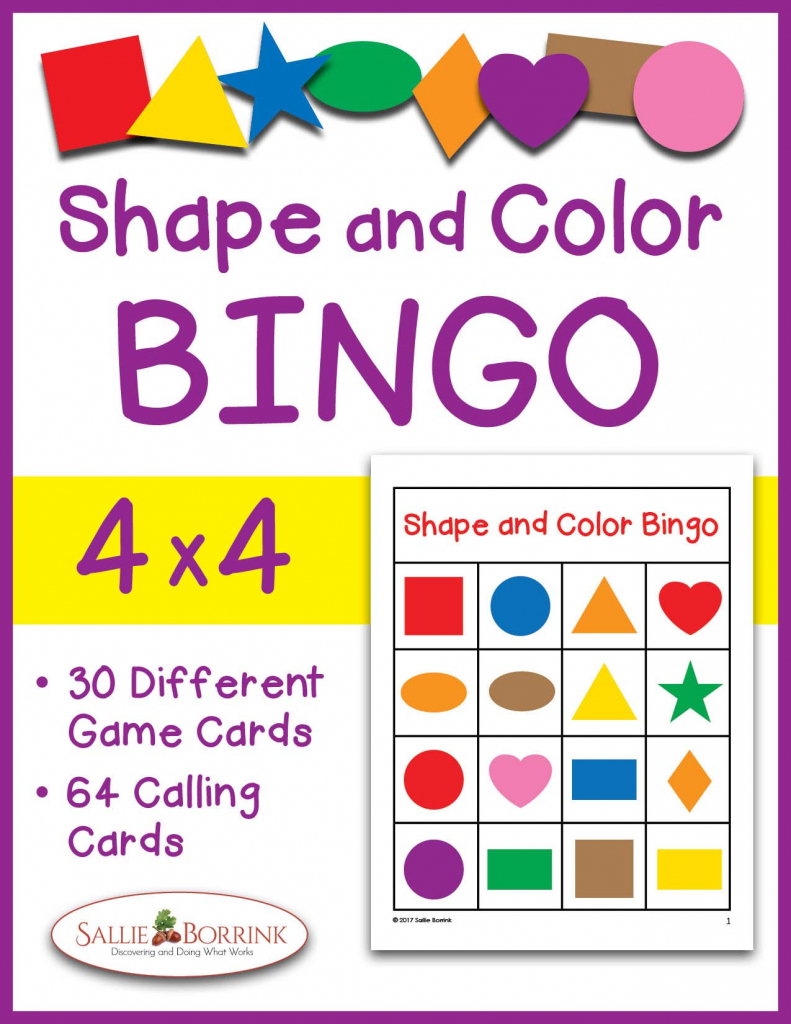 Shapes And Colors Bingo Game Cards 4X4 - Sallieborrink   Shapes Bingo Cards Printable