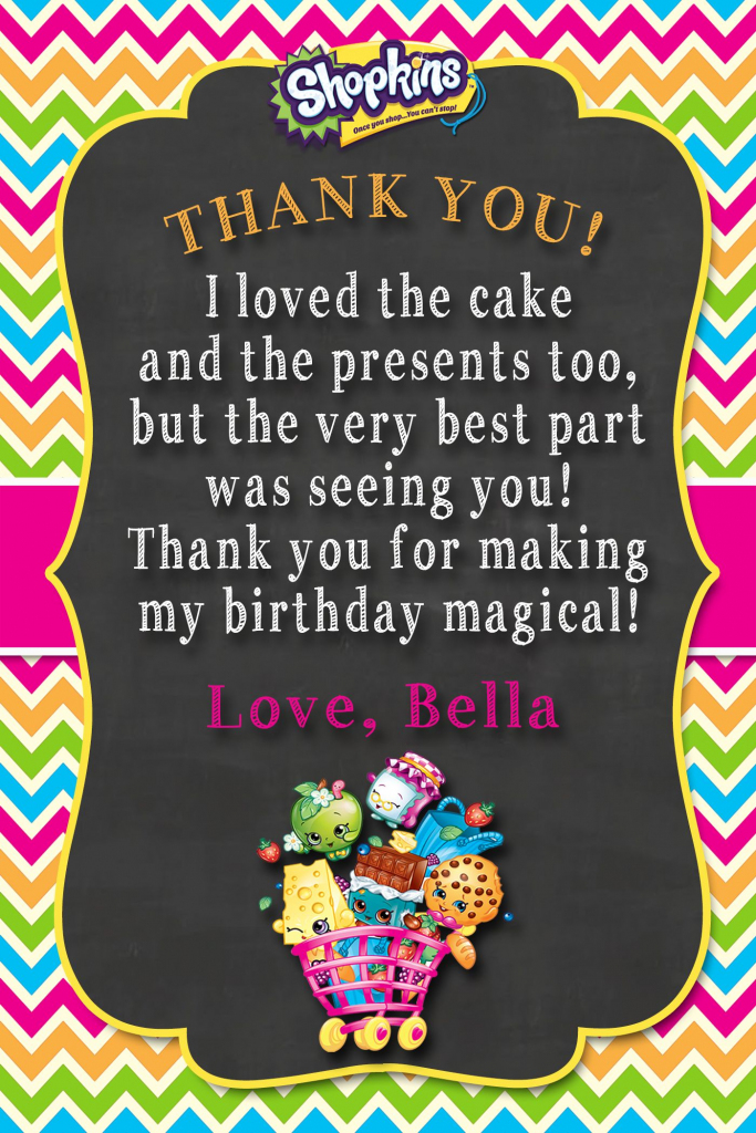 Shopkins Thank You Card   Shopkins Birthday Invitations And Party   Free Printable Shopkins Thank You Cards