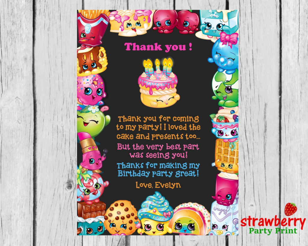 Shopkins Thank You Cards, Shopkins Birthday Thank You Notes, Thank   Free Printable Shopkins Thank You Cards