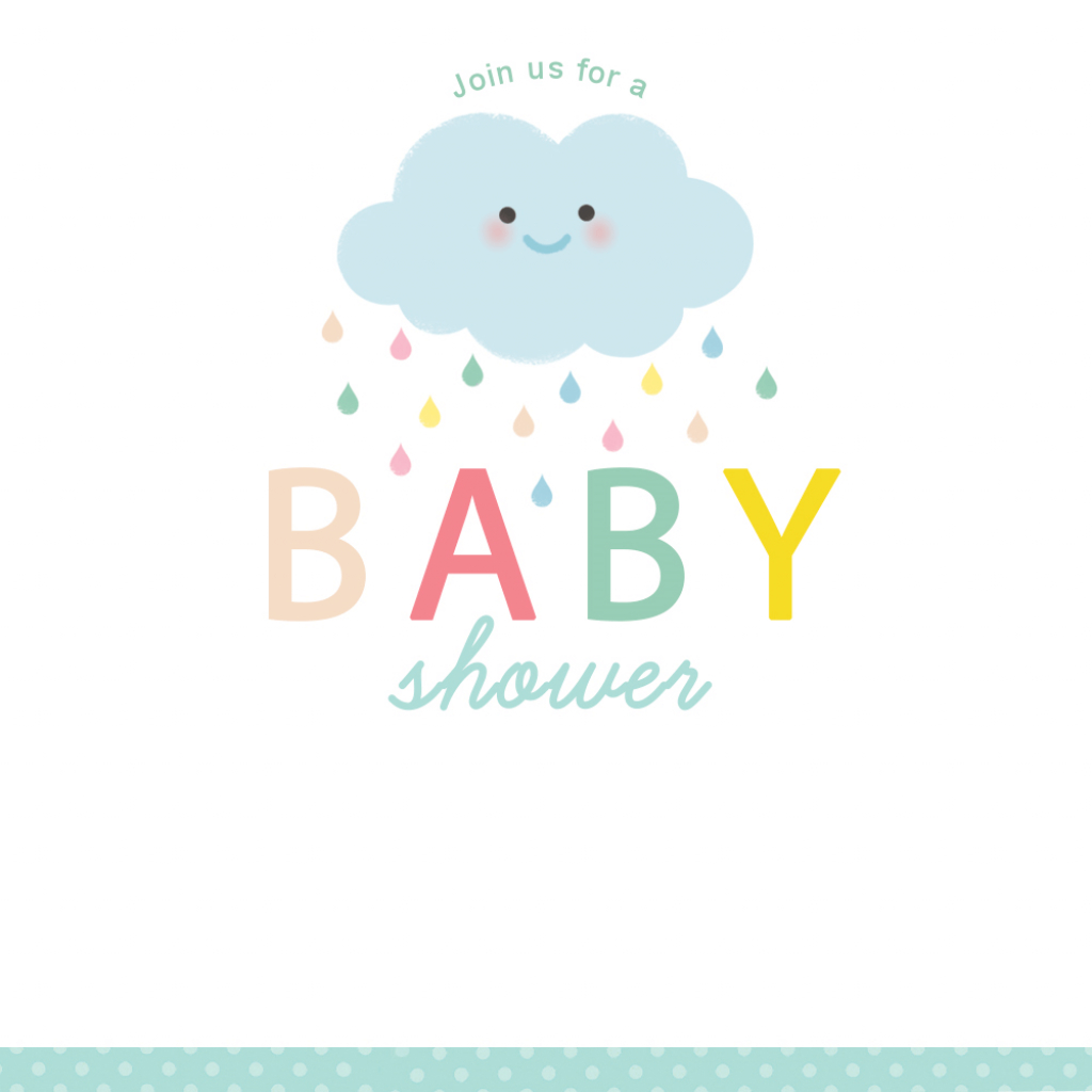 Shower Cloud - Free Printable Baby Shower Invitation Template | Free Printable Baby Registry Cards