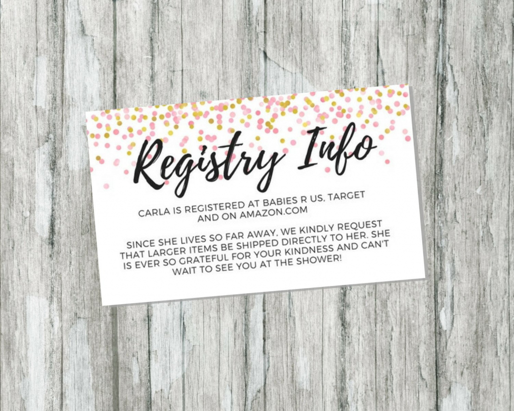 Shower Gift Registry Card Pink And Gold Baby Shower | Etsy | Babies R Us Printable Registry Cards