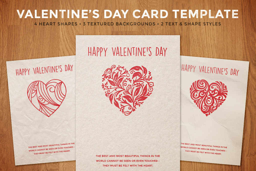 Simple Valentine's Day Card Template   Design Panoply   Valentine's Day Card Printable Templates