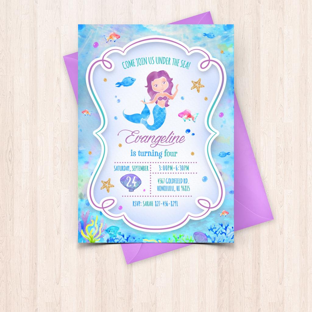 Smartly Printable Watercolor Mermaid Birthday Invitations Free Thank | Free Printable Mermaid Thank You Cards