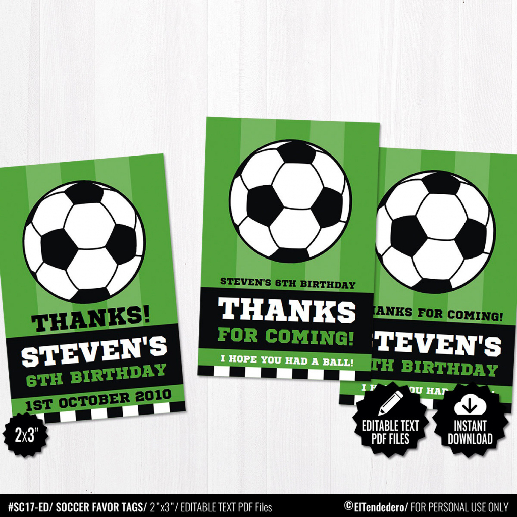Soccer Favor Tags. Printable Thank You Cards. Favor Bag Tags. | Etsy | Free Printable Soccer Thank You Cards