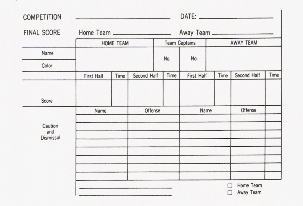 Soccer Game Cards Templates - Kleo.bergdorfbib.co | Printable Referee Score Cards