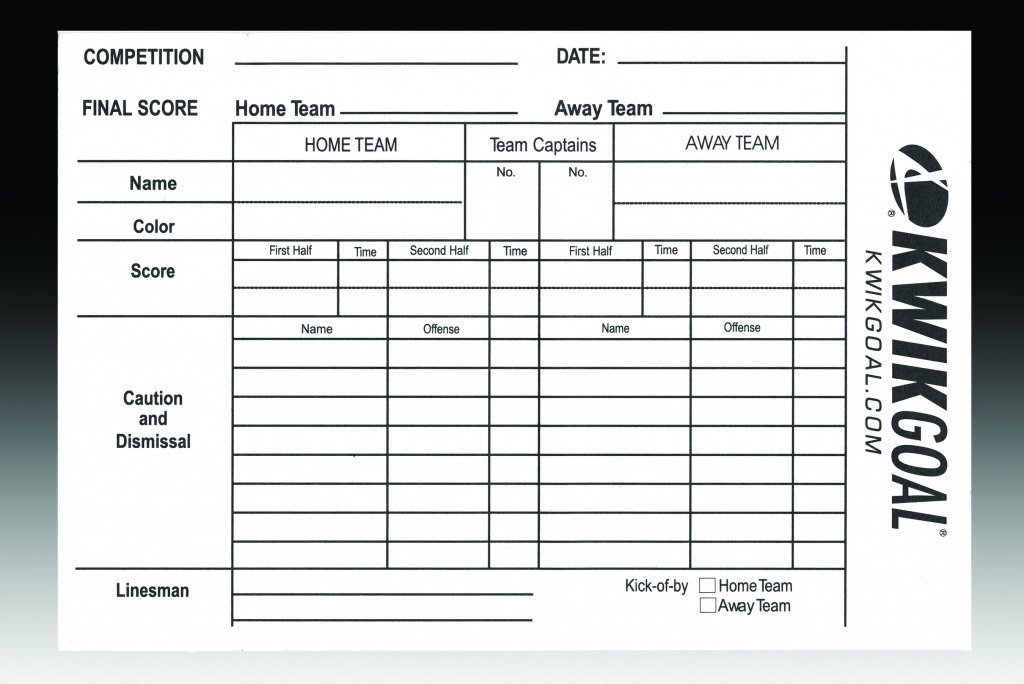 Soccer Referee Score Sheets - Gopher Sport | Soccer Referee Cards Printable