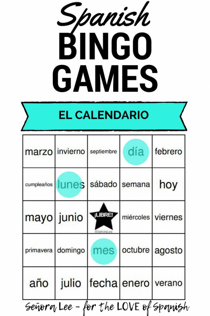 Spanish Calendar Vocabulary Bingo - 40 Printable Bingo Cards To   Vocabulary Bingo Cards Printable