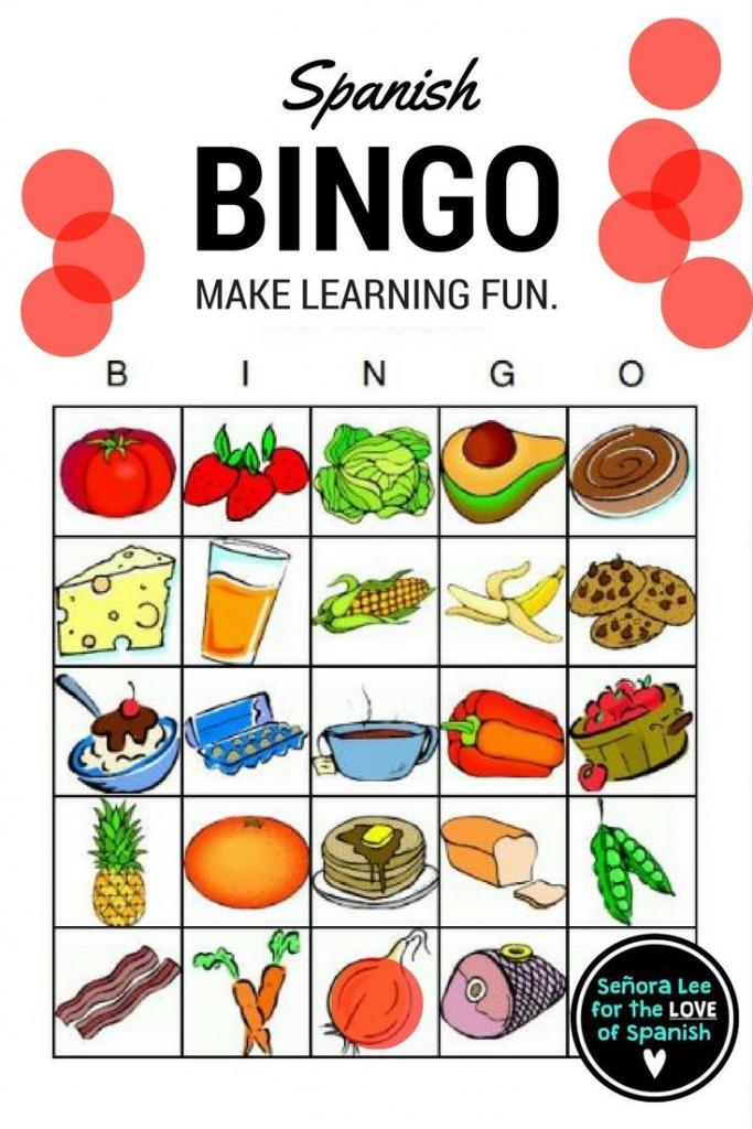 Spanish Food - Bingo | Español | Elementary Spanish, Spanish Lessons | Free Printable Spanish Bingo Cards