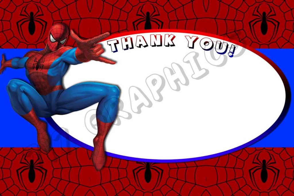 Spiderman 4X6 Thank You Card - Printable | Boy Birthday Parties | Spiderman Thank You Cards Printable