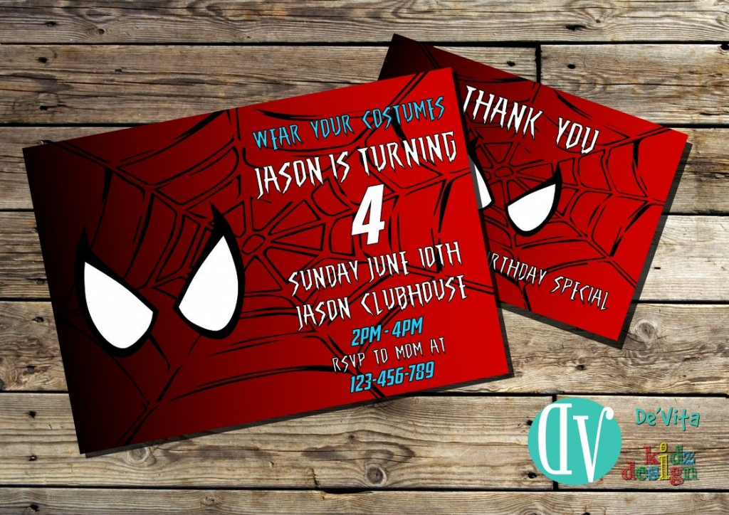 Spiderman Birthday Invitation Printable 5X7 Or 4X6 And Free | Etsy | Spiderman Thank You Cards Printable