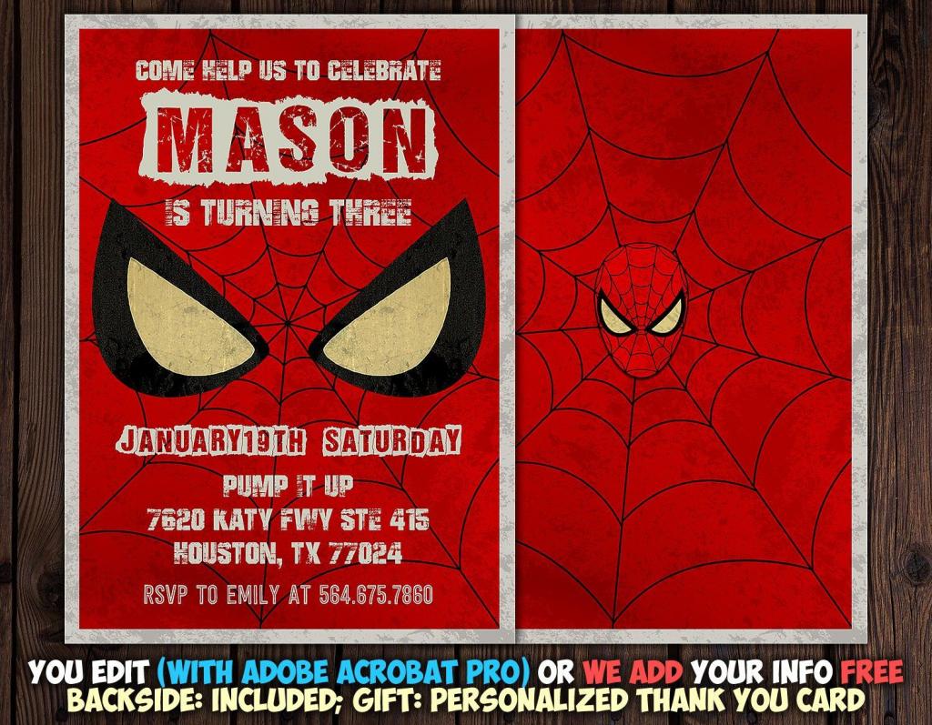Spiderman Invitation Instant Download, Spiderman Invitation | Spiderman Thank You Cards Printable