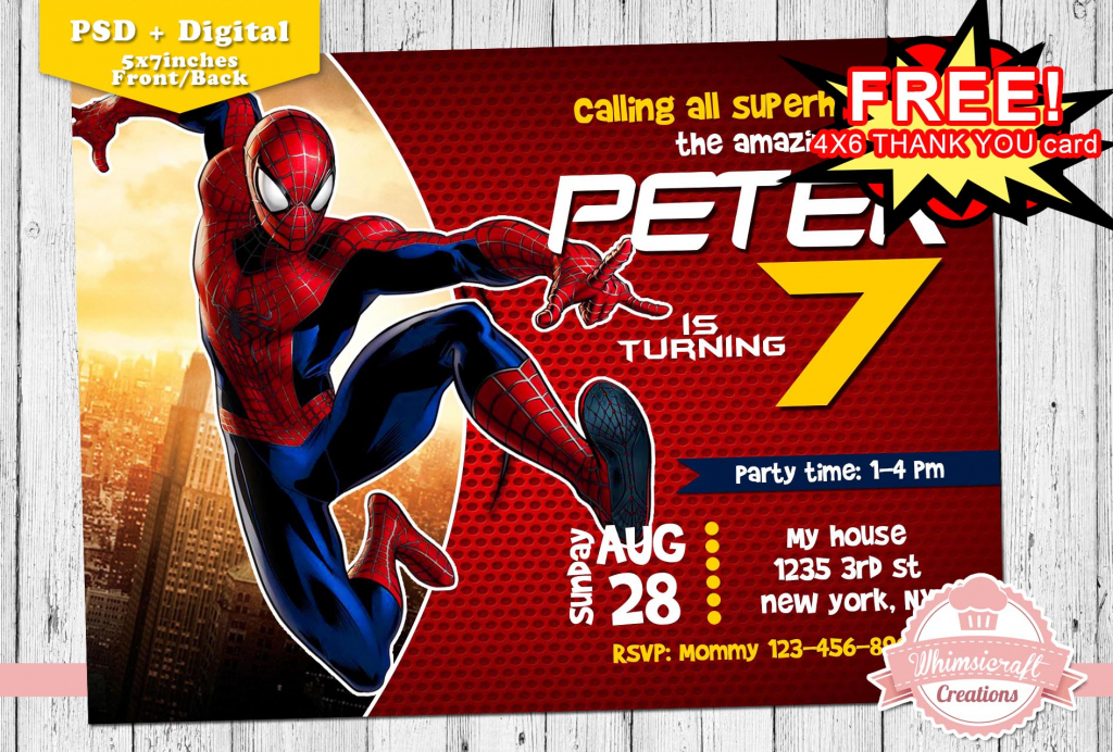 Spiderman Invitation, Spiderman Birthday Invitation, Birthday | Spiderman Thank You Cards Printable