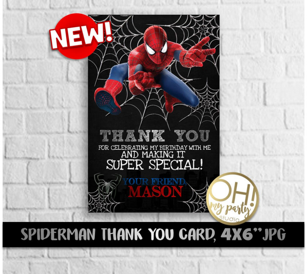 Spiderman Thank You Card Spiderman Party Spiderman Birthday | Etsy | Spiderman Thank You Cards Printable