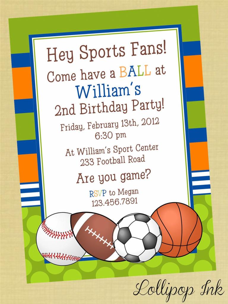 Sports Printable Birthday Invitation, Personalized Sports Birthday | Printable Sports Birthday Cards