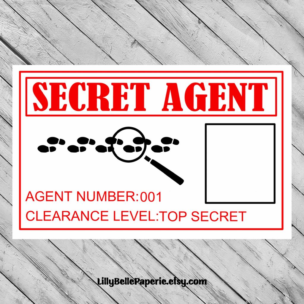 Spy Secret Agent Birthday Party Identity Id Badge -Printable File | Printable Spy Id Cards