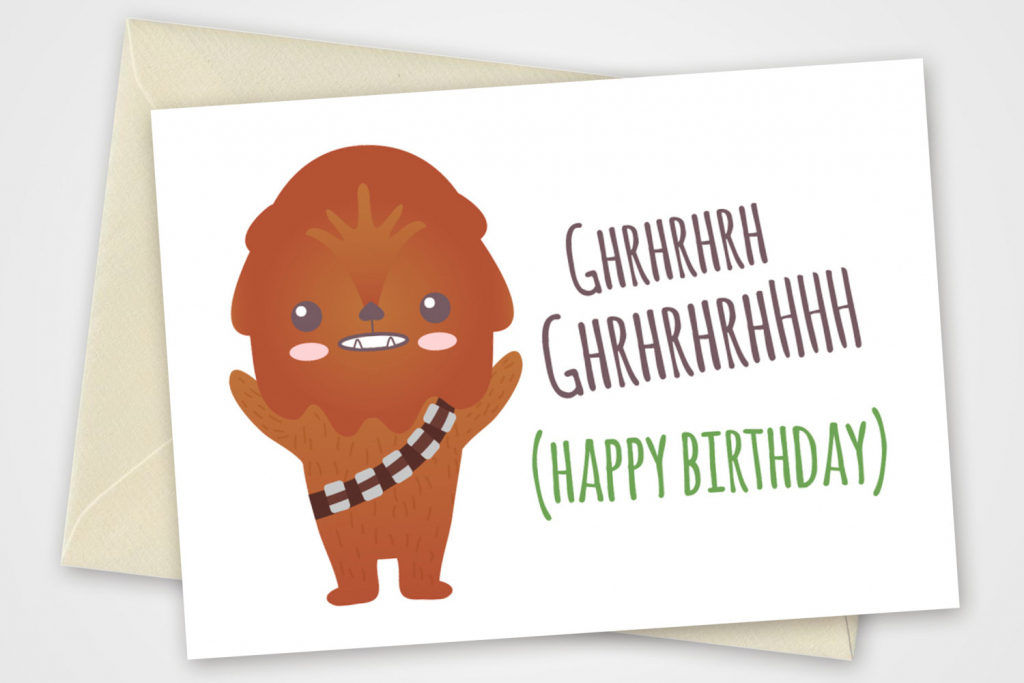 Star Wars Printable Card With Chewbacca Pdf Diy 6X4 Inch | Etsy | Star Wars Birthday Card Printable