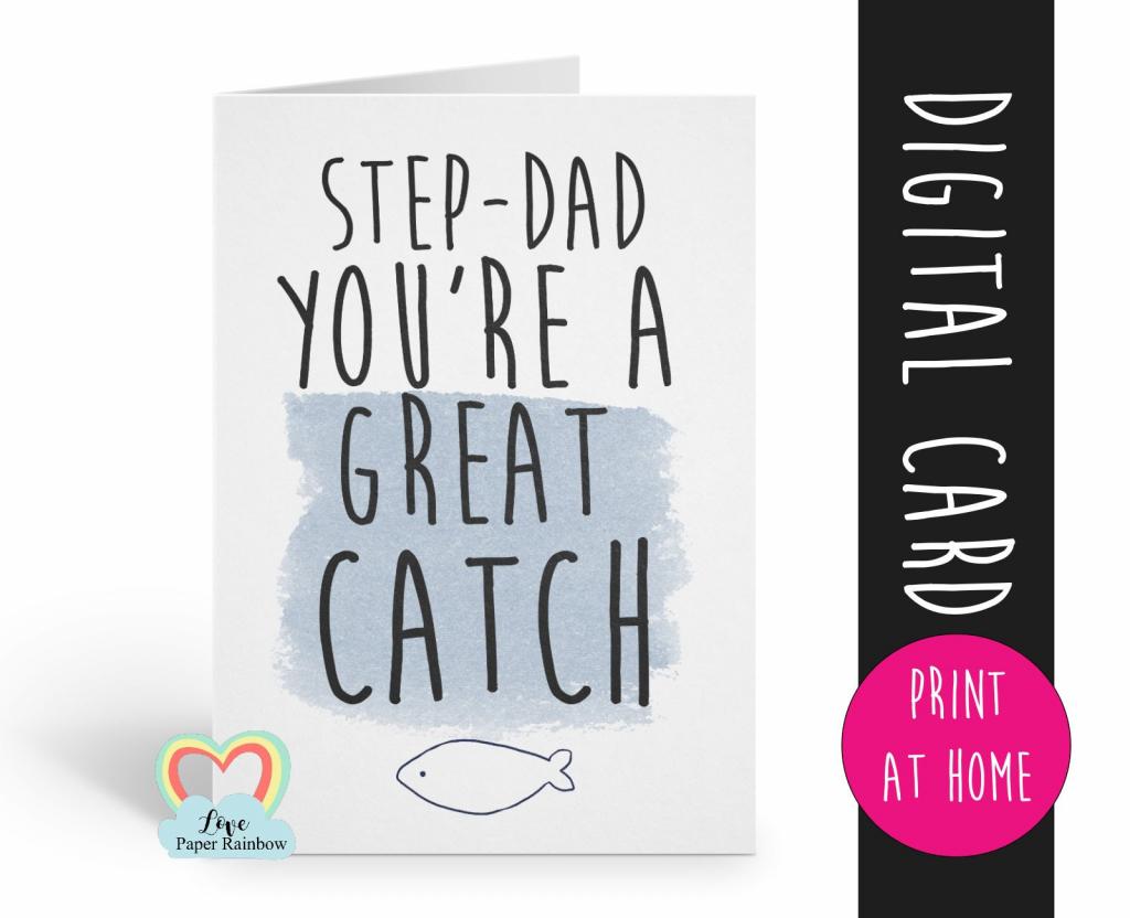 Stepdad Father's Day Card Printable Stepdad Thanks Card Digital | Printable Step Dad Fathers Day Cards