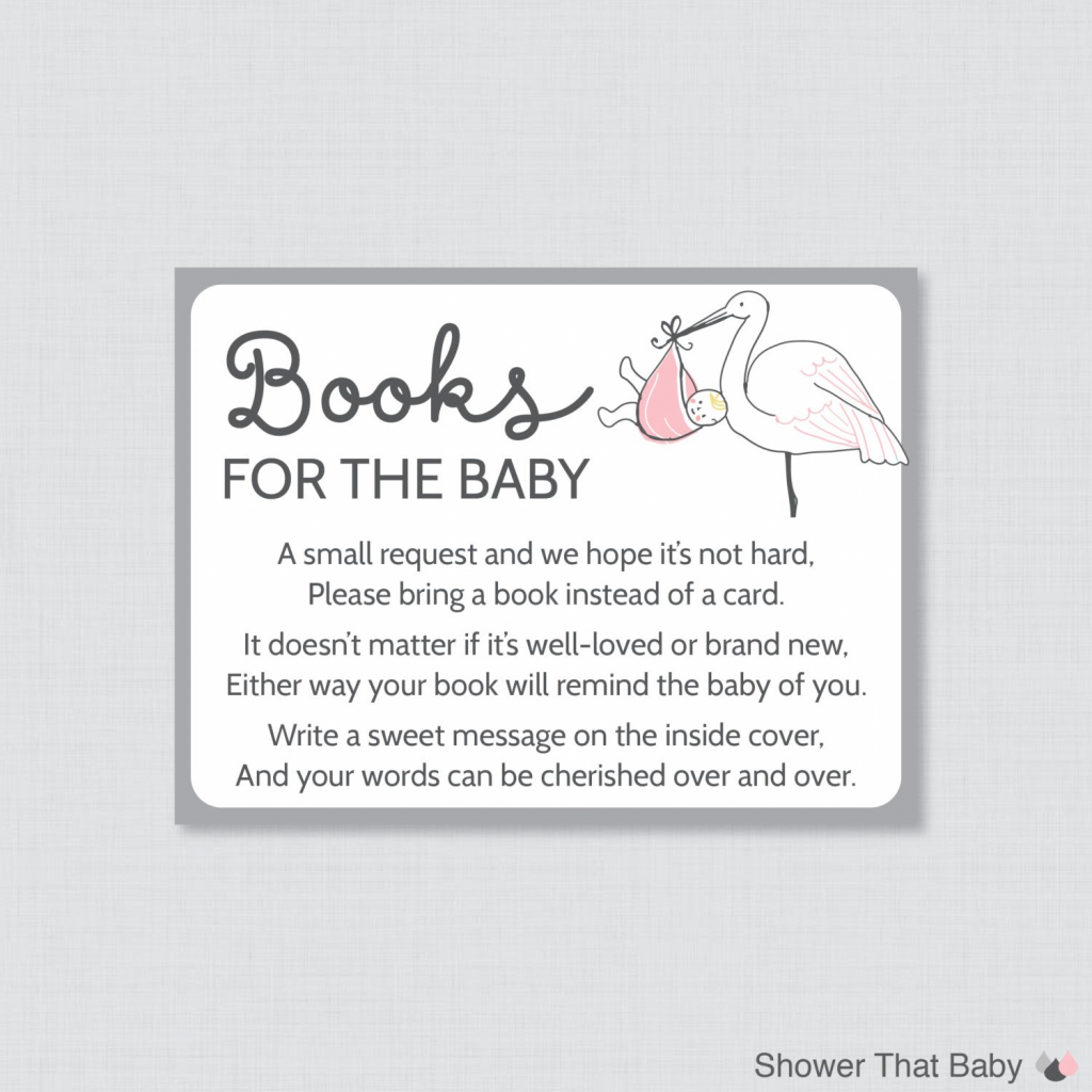 Stork Baby Shower Bring A Book Instead Of A Card Invitation Mobile | Bring A Book Instead Of A Card Free Printable