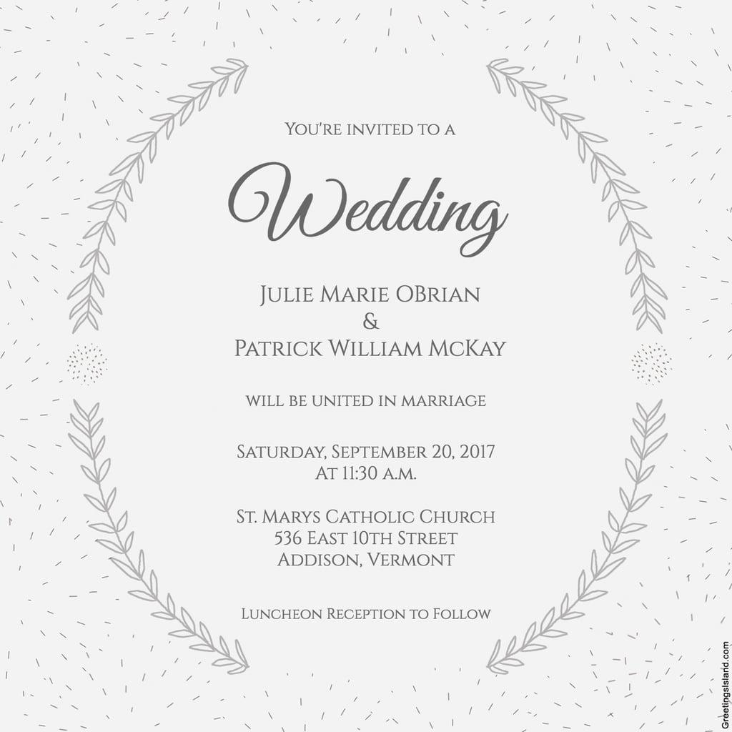 Stylized Laurels Wedding Invitation | Free Printable Wedding | Free Printable Wedding Cards